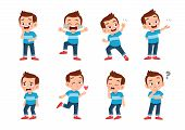 Cute Kid With Many Gesture Expression Set poster