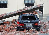 Christchurch Earthquake - Car Crushed By Collapsed Brick Wall.