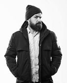 Hipster Modern Fashion. Guy Wear Hat And Black Winter Jacket. Hipster Style Menswear. Hipster Outfit poster