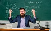 Whos Really Boss In Class. Man Bearded Teacher In Class. Teacher Career. Start Career. Teacher Forma poster