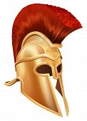 stock photo of mohawk  - Illustration of a bronze Trojan Helmet Spartan helmet Roman helmet or Greek helmet - JPG