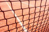 Tennis Court, Clay Court And Black Net, Tennis Net, Tennis Background poster