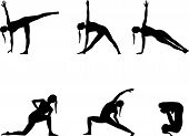 stock photo of padmasana  - Yoga series black silhouettes on white - JPG