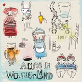 Alice in Wonderland - hand drawn characters and icons illustrating Lewis Carroll's famous children n
