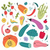 Set Of Hand Drawn Colored Doodle Illustrations Of Vegetables Isolated. Sketch Style Flat Vector Coll poster