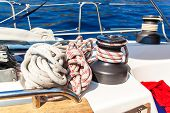Sailboat Winch And Rope Yacht Detail. Yachting. Sailing On The Sea. Close Up On Yacht Cord Crank, Ya poster