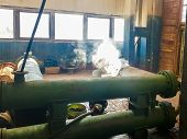 Steam From The Pipe. Under Pressure In Production. Factory Breakdown. Gas Leak. Leakage Of Steam In  poster