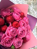 Bright Bouquet Red And Pink Roses. Beautiful Red And Pink Rose Bouquet, Valentine Romantic Bunch Of  poster