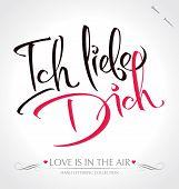 'ich Liebe Dich' Hand Schrift (Vektor)