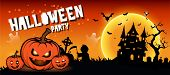 Halloween Night Background With Full Moon, Halloween Banners With Pumpkins poster