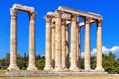 Olympian Zeus Temple In Summer, Athens, Greece. It Is One Of Top Landmarks Of Athens. Majestic View  poster