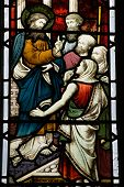 Jesus Preaching stained glass window