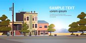 City Building Houses Exterior Modern Town Street In Summer Season Sunset Cityscape Background Horizo poster