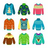 Ugly Christmas Sweater. Knitted Jumpers With Winter Patterns, Snowflakes And Deer. Xmas Funny Cozy C poster