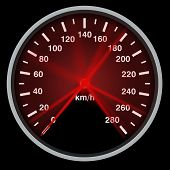 Speed Meter. Speedometer With A Red Arrow Indicating Speed. 3d Illustration poster