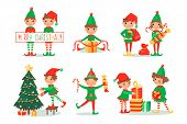 Smiling Elves Packing Gifts. Decorating Christmas Tree For Celebration. Happy Children In New Year F poster