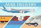 Mail Delivery Post Logistics And Freight Transportation Service, Vector. Air Mail Delivery, Train An poster