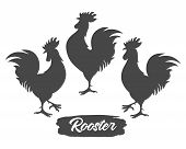 Rooster Silhouettes. Chicken Cock Silhouette Set, Farm Bantam Birds Black Vector Images Isolated On  poster