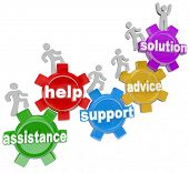 Several people rising on gears helping each other to achieve success and reach a solution through as
