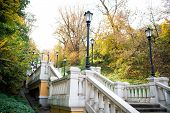 A Picturesque Landscape. Stone Staircase. Staircase In Autumn Park. Park Staircase On Autumn Day. Ar poster