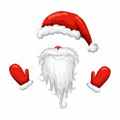 Red Santa Hat, Beard And Mittens Isolated On White Background. Vector Illustration Of Santa Claus Co poster