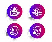 Cream, Serum Oil And Uv Protection Icons Simple Set. Halftone Dots Button. Healthy Face Sign. Best L poster