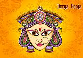 Vector Design Of Indian Goddess Durga Sculpture For Durga Puja Holiday Festival Of India In Dussehra poster