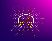 Headphones Line Icon. Halftone Pattern. Music Listening Device Sign. Dj Or Audio Symbol. Gradient Ba poster
