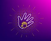 Hand Line Icon. Halftone Pattern. Social Responsibility Sign. Honesty, Collaboration Symbol. Gradien poster