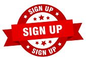 Sign Up Ribbon. Sign Up Round Red Sign. Sign Up poster