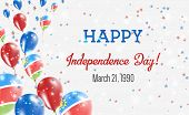 Namibia Independence Day Greeting Card. Flying Balloons In Namibia National Colors. Happy Independen poster