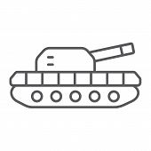 Army Tank Thin Line Icon, Army And Force, Armature Sign, Vector Graphics, A Linear Pattern On A Whit poster