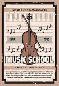 Violin Playing School, Dramatic Arts Higher Education Retro Poster. Vector Cello Or Contrabass Music poster