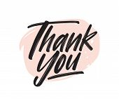 Thank You Handwritten Black Ink Lettering. Gratitude Expression Vector Brush Pen Phrase. Thankfulnes poster