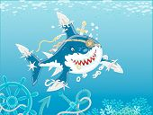 Perfidiously Smiling Great White Shark Pirate With Fins Sabers Attacking In Blue Water Of A Tropical poster