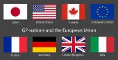 G7 Summit Flags Isolated Icons With European Union. Group Of Seven Vector Flags With Every Country O poster