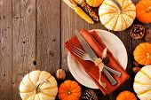 Autumn Harvest Or Thanksgiving Table Setting With Silverware, Orange Napkin, Pumpkins And Decor. Top poster