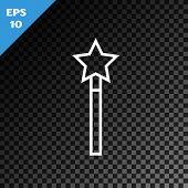 White Line Magic Wand Icon Isolated On Transparent Dark Background. Star Shape Magic Accessory. Magi poster