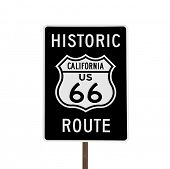 Historic California US Route 66 road sign isolated.