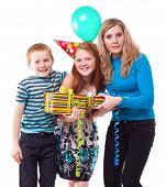 Happy Family Celebrates Birthday