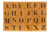 Antique Wood Block Alphabet