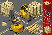 Isometric Forklift In Two Different Positions