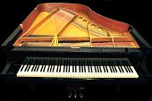 picture of grand piano  - top view of grand piano with lid and music stand removed - JPG