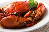 pic of crustaceans  - chili crab Asia cuisine spicy seafood with spices