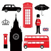 Uk - London Symbol  -  Icons - Silhouette - Stencil -  Illustration