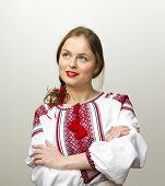 Portrait Of Beautiful Young Woman In The Ukrainian National Clothes
