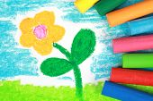 Kiddie Style Crayon Drawing Of A Flower