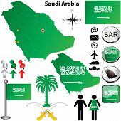 stock photo of saudi arabia  - Vector of Saudi Arabia set with detailed country shape with region borders flags and icons - JPG