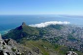 Lions Head and Cape Town, South Africa, areal view from the top of Table Mountain.