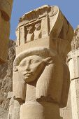 stock photo of hatshepsut  - ancient sculpture at the Mortuary Temple of Hatshepsut in Egypt - JPG